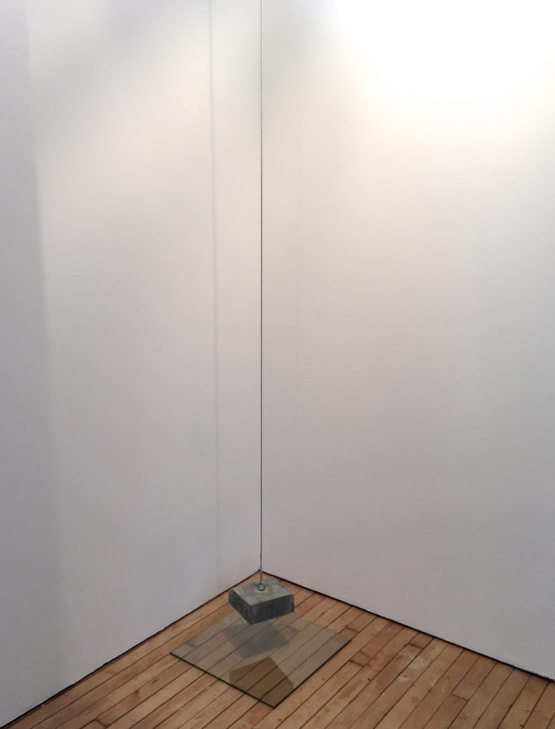 """""""Untitled,"""" 2016 Cement, glass, wire cable Dimensions variable"""