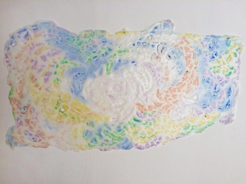 """""""Zephyr Pond,"""" 2015 School glue, hair gel 28 x 48 inches"""