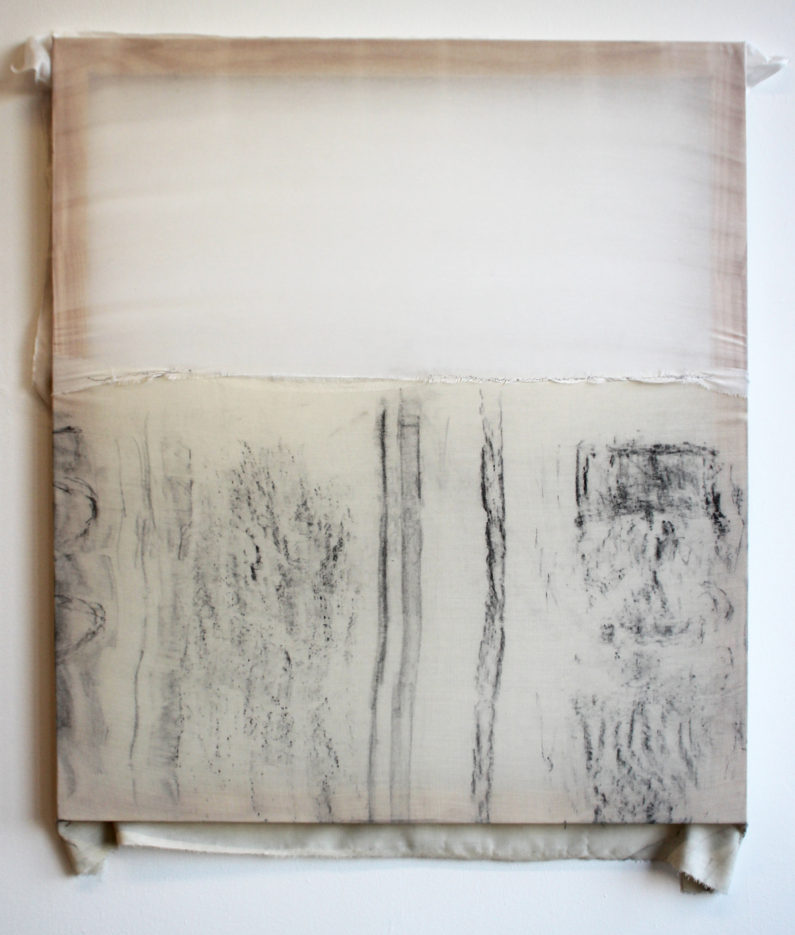 """Untitled (Stuyvesant St.),"" 2015  Charcoal on wool and cotton silk  34 x 30 inches"