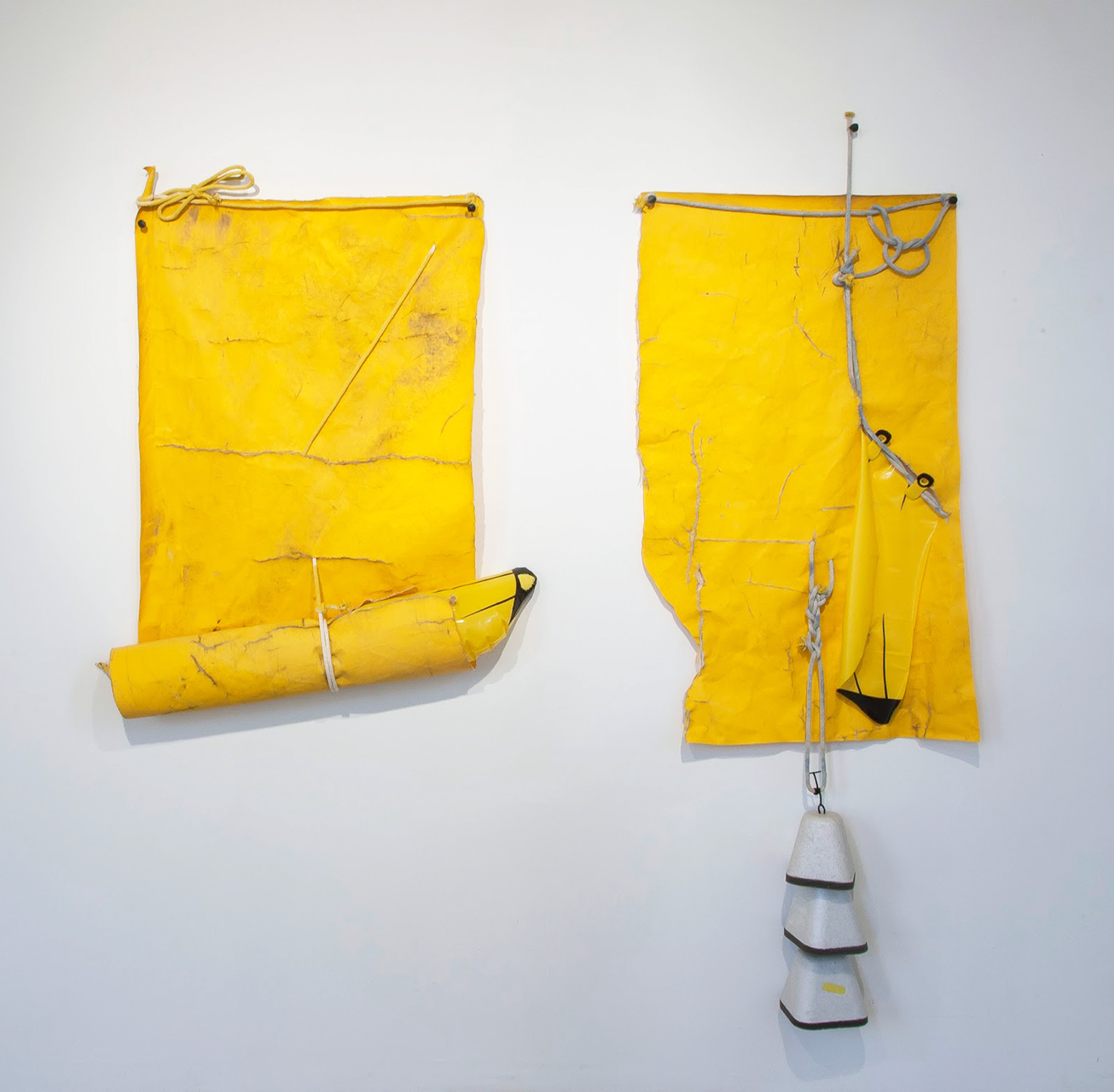 No Bananas On Board, 2016 Tarp, rope, inflatable bananas 41 x 60 x 12 inches