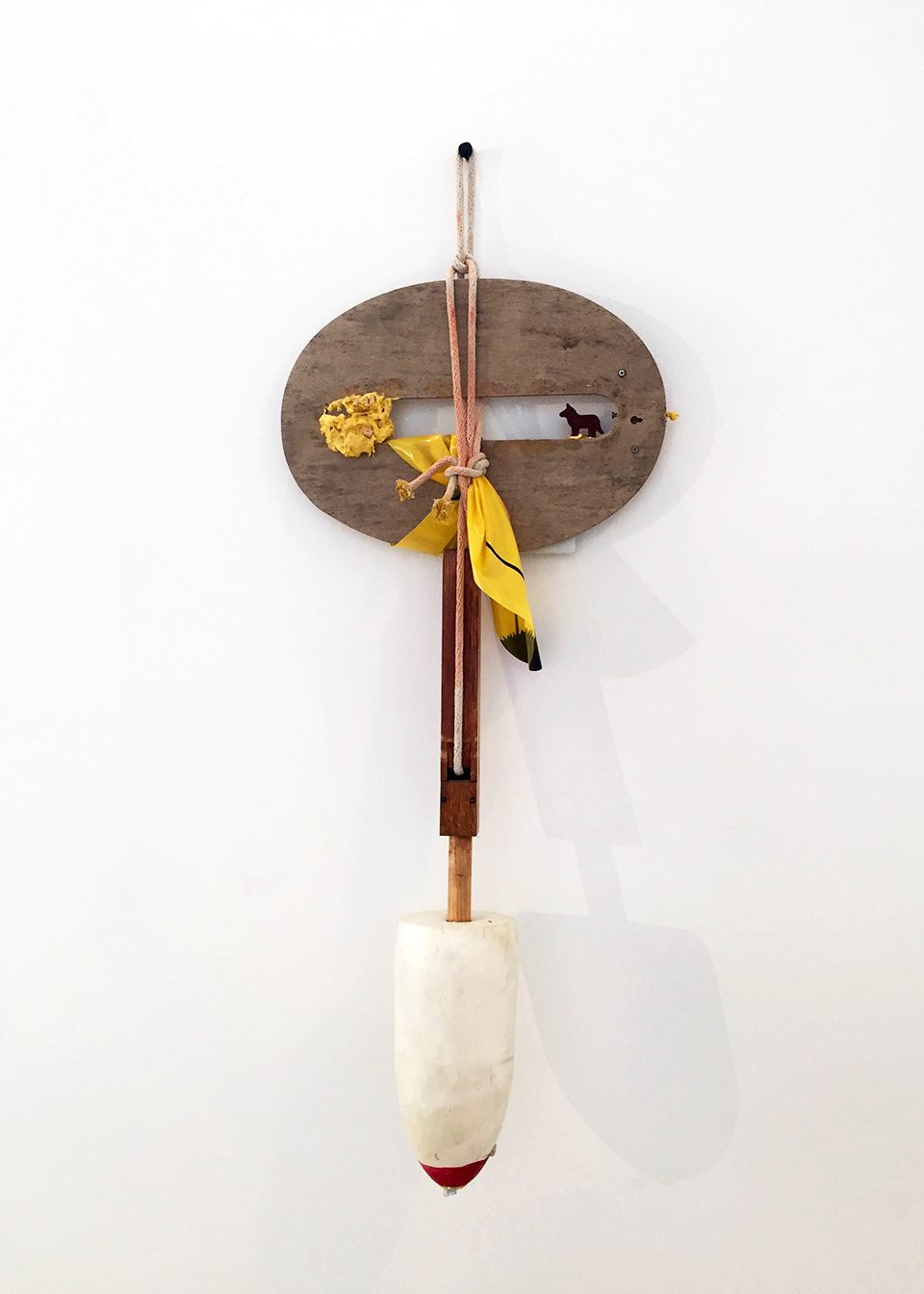 My Indiana, 2016 Wood, buoy, rope, acrylic teeth, glue mixture 30 x 17 x 12 inches
