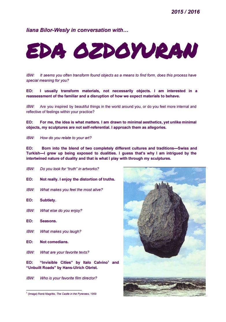 Iiana Bilor-Wesly in conversation with Eda Ozdoyuran
