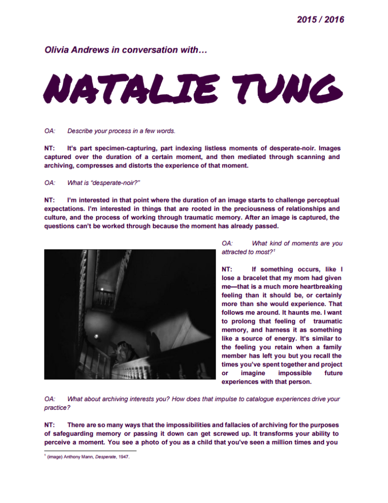Olivia Andrews in conversation with Natalie Tung