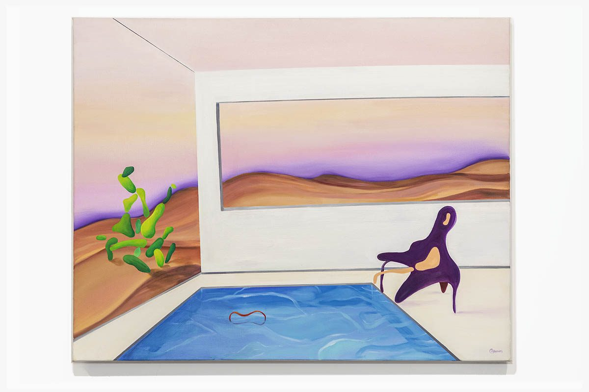 Painting of pool in a gallery setting.