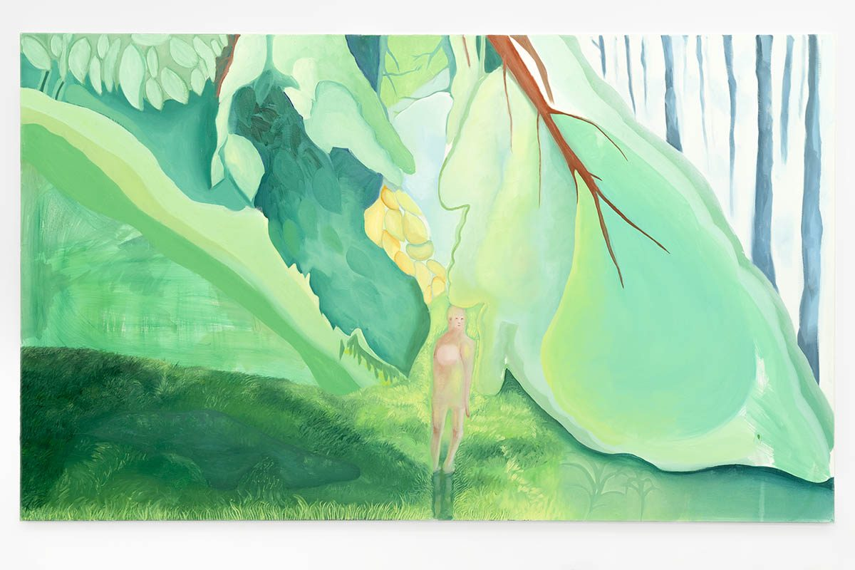 Jessica Chaeyoung Lee's painting, figure in green natural setting