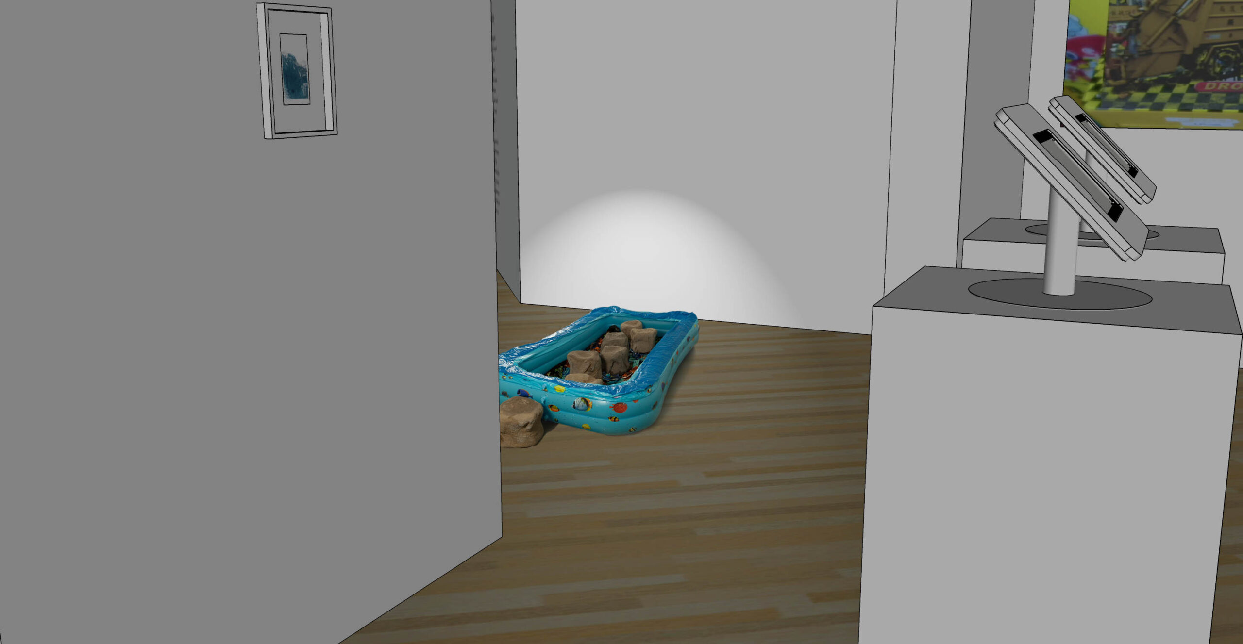 Installation view in the virtual gallery. Plastic pool is seen from a distance.
