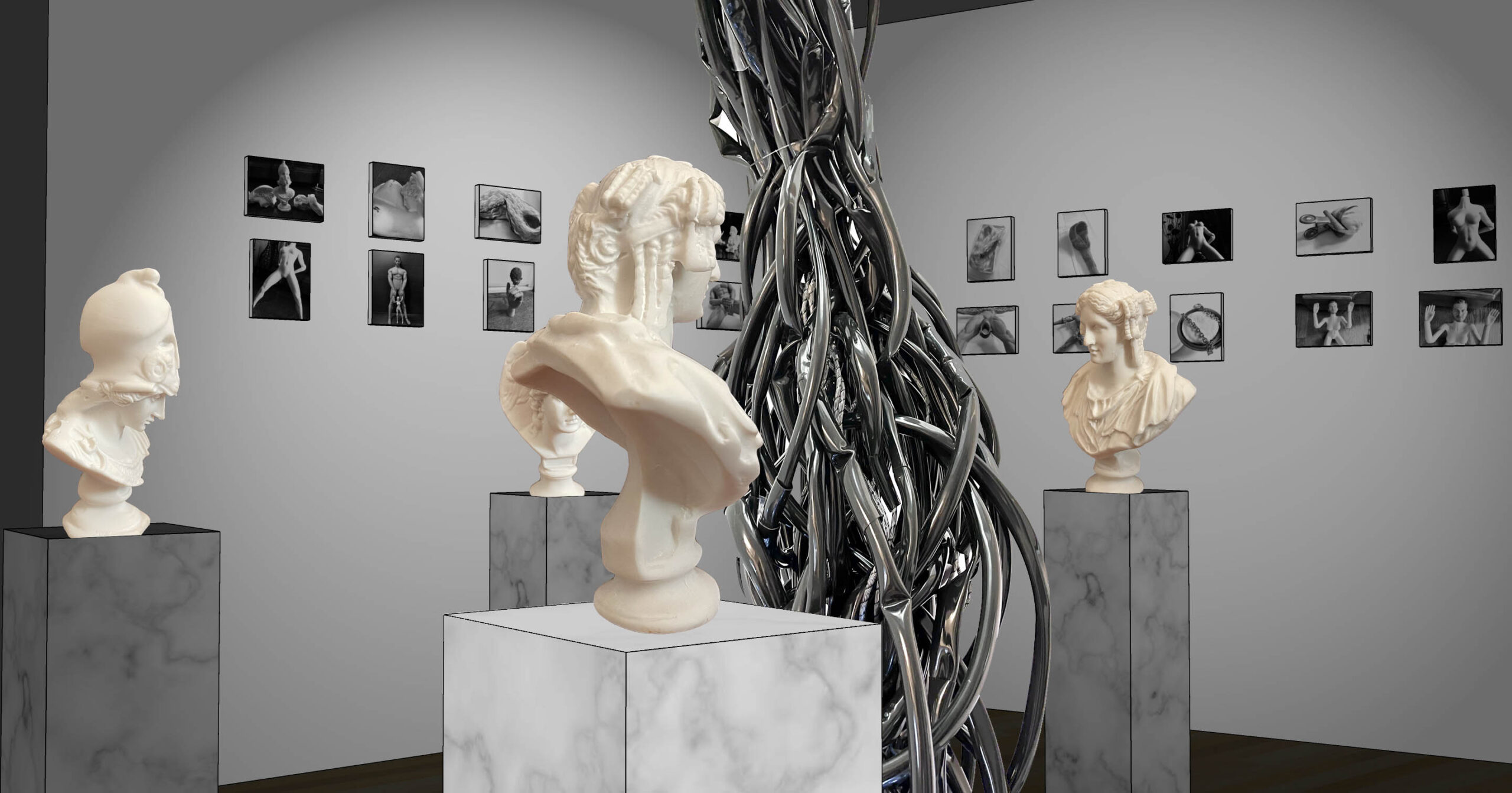 Installation view, with classical sculptures surrouding a tree like structure.