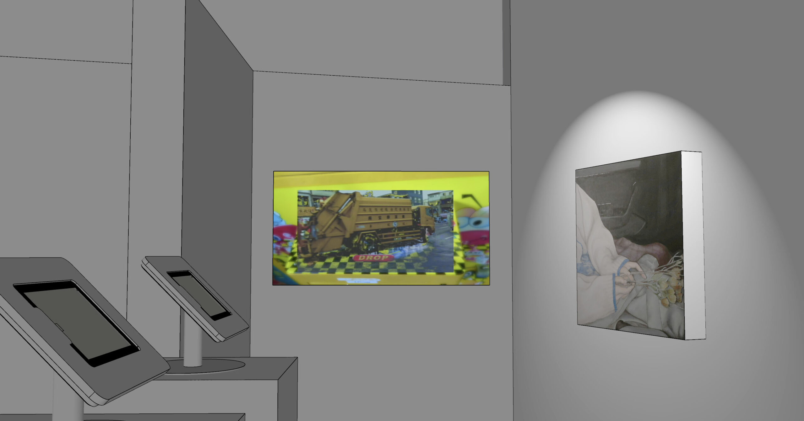 Video projection in virtual gallery. Video is a sort of collage of cartoon imagery and a garbage truck.