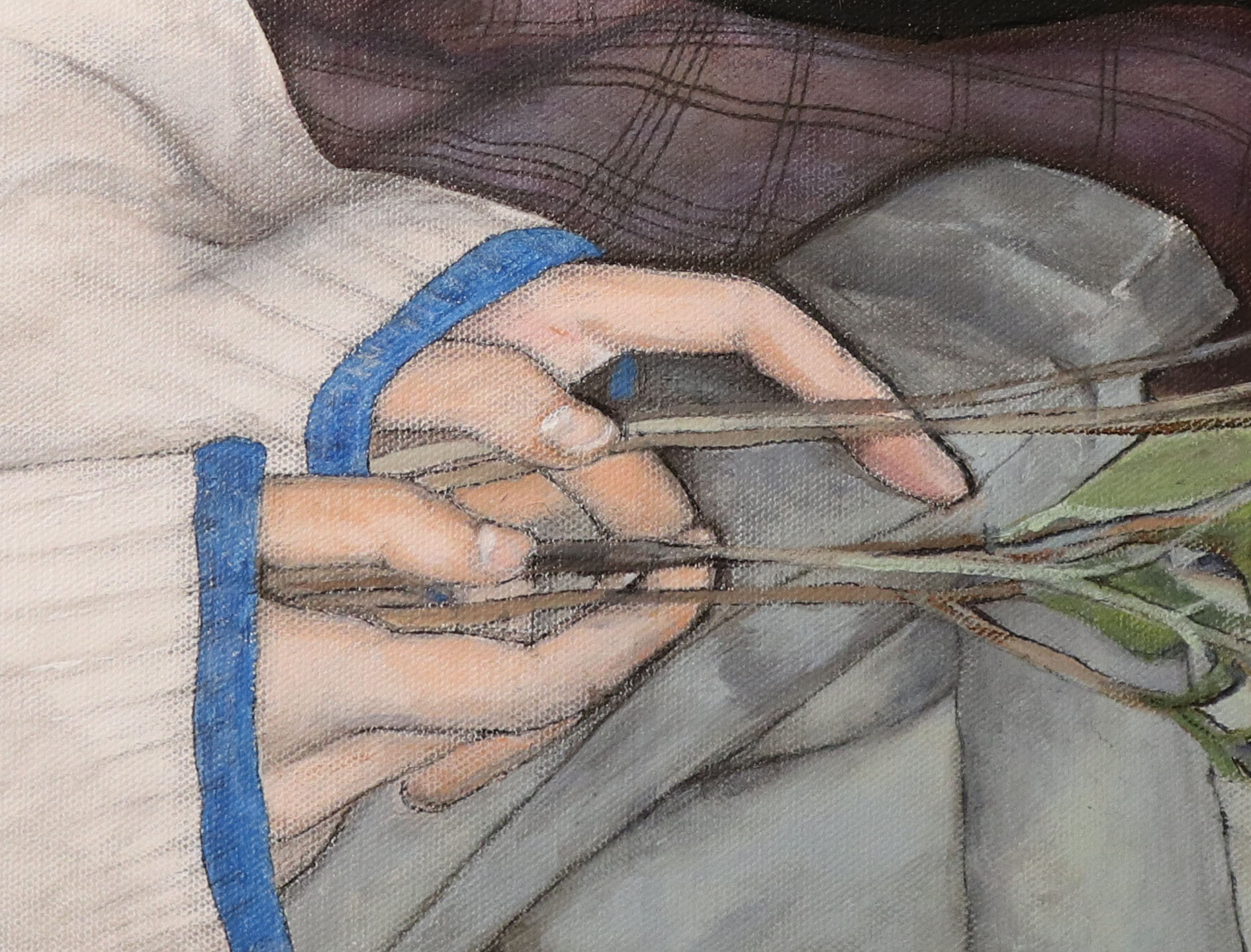 Painting detail of hands holding wilted flowers.
