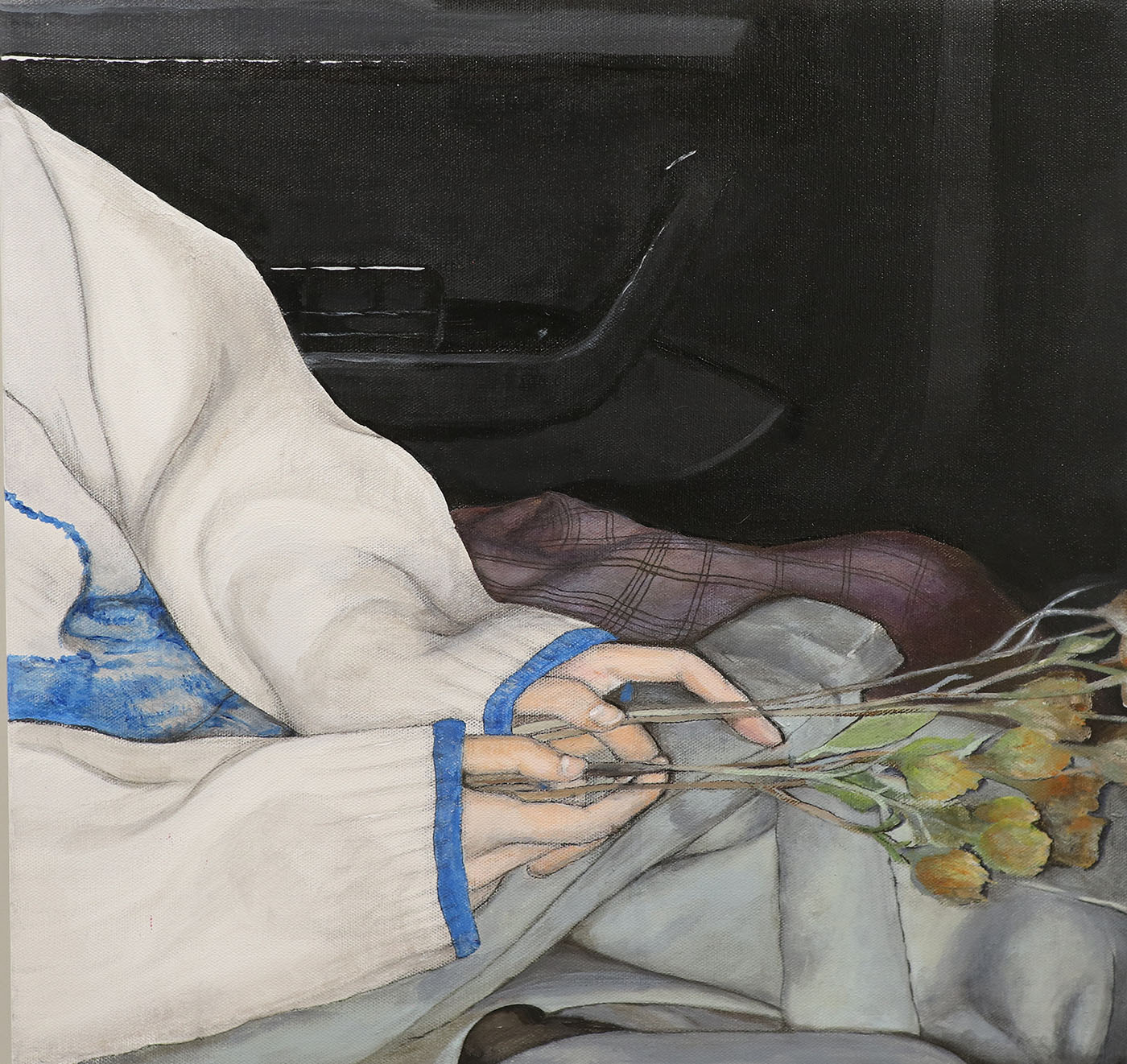 Painting of seated figure in a car holding wilted flowers.