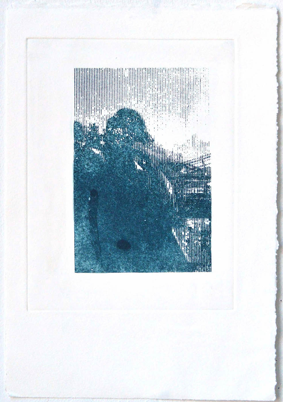 abstract image, printed in blue ink on paper